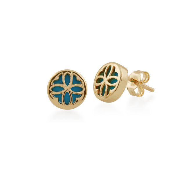 Art Nouveau Style Round Turquoise Floral Pattern Overlay Stud Earrings in 9ct Yellow Gold