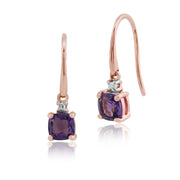 Classic Cushion Amethyst & Diamond Drop Earrings in 9ct Rose Gold