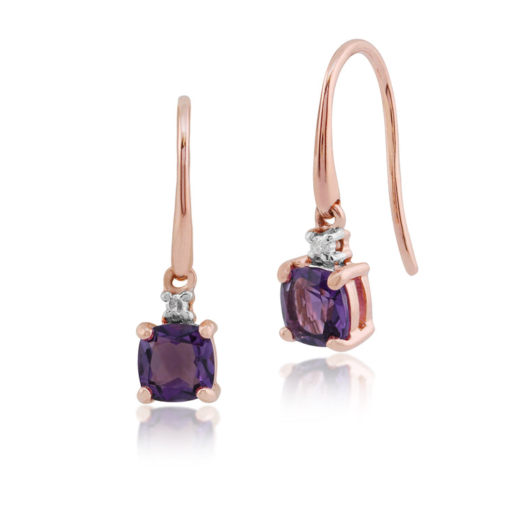 10ct Rose Gold Amethyst Cushion Drop Earrings - Gemondo
