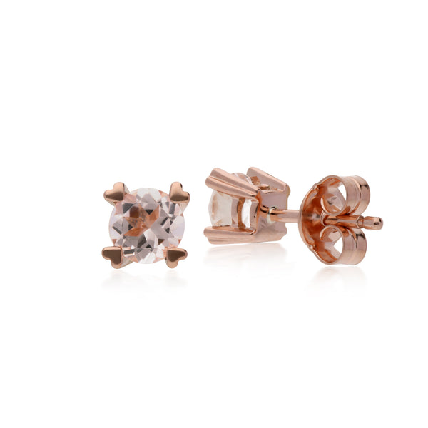 Classic Round Morganite Heart Claw Set Stud Earrings in 9ct Rose Gold