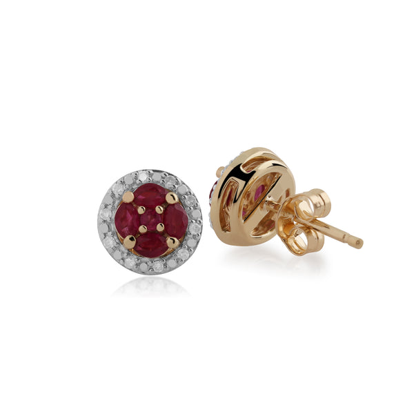 Classic Ruby & Diamond Halo Cluster Stud Earrings Image 2