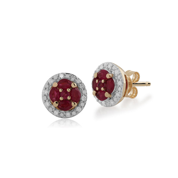 Classic Ruby & Diamond Halo Cluster Stud Earrings Image 1