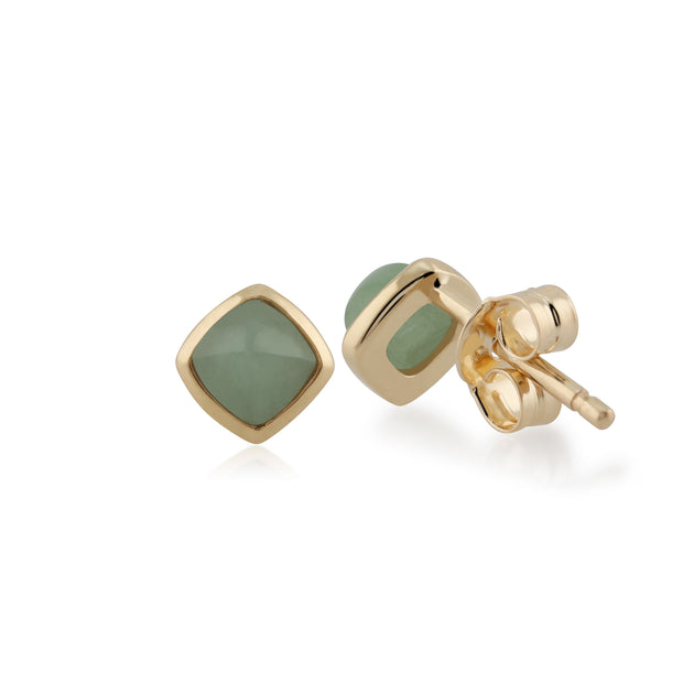 Classic Cushion Green Jade Bezel Set Stud Earrings in 9ct Yellow Gold