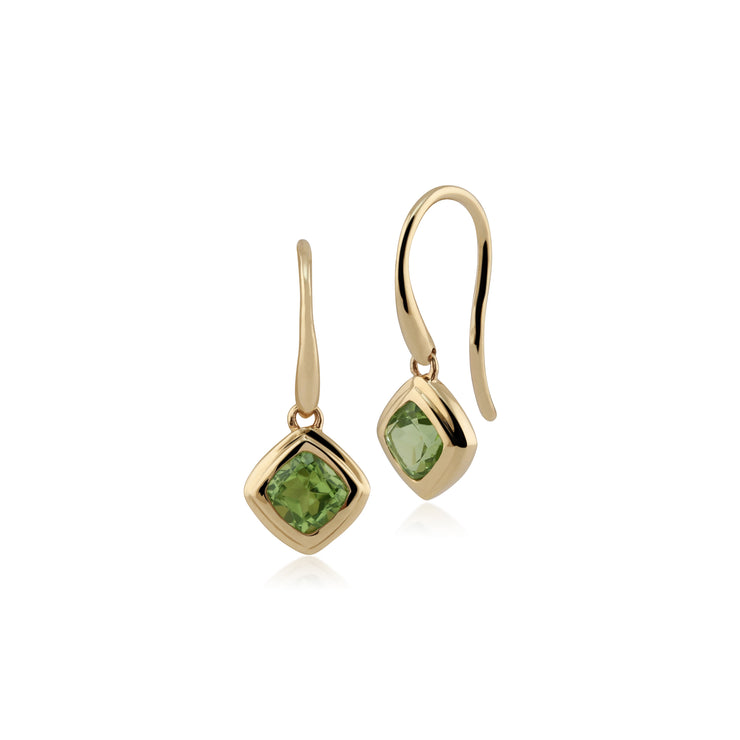 Classic Cushion Peridot Bezel Set Drop Earrings in 9ct Yellow Gold