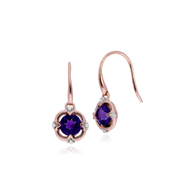 Classic Round Amethyst & Diamond Quarterfoil Drop Earrings in 9ct Rose Gold
