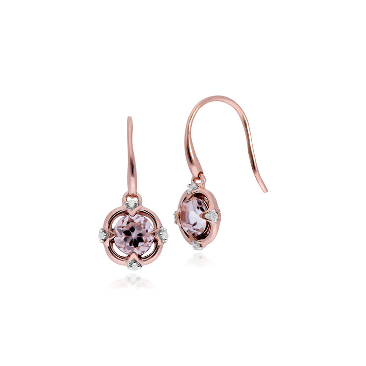10ct Rose Gold Morganite & Diamond Round Halo Drop Earring