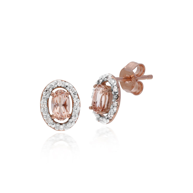 Classic Oval Morganite & Diamond Halo Stud Earrings & Solitaire Ring Set in 9ct Rose Gold
