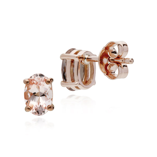 Classic Oval Morganite Claw Set Stud Earrings in 9ct Rose Gold
