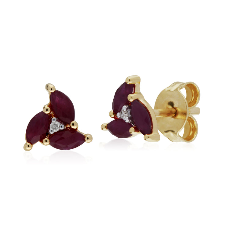 Floral Ruby & Diamond Stud Earrings Image 1
