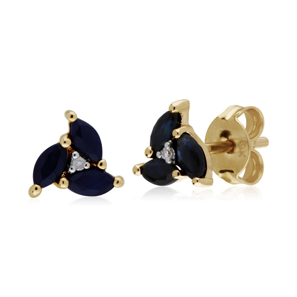 Floral Sapphire & Diamond Stud Earrings Image 1