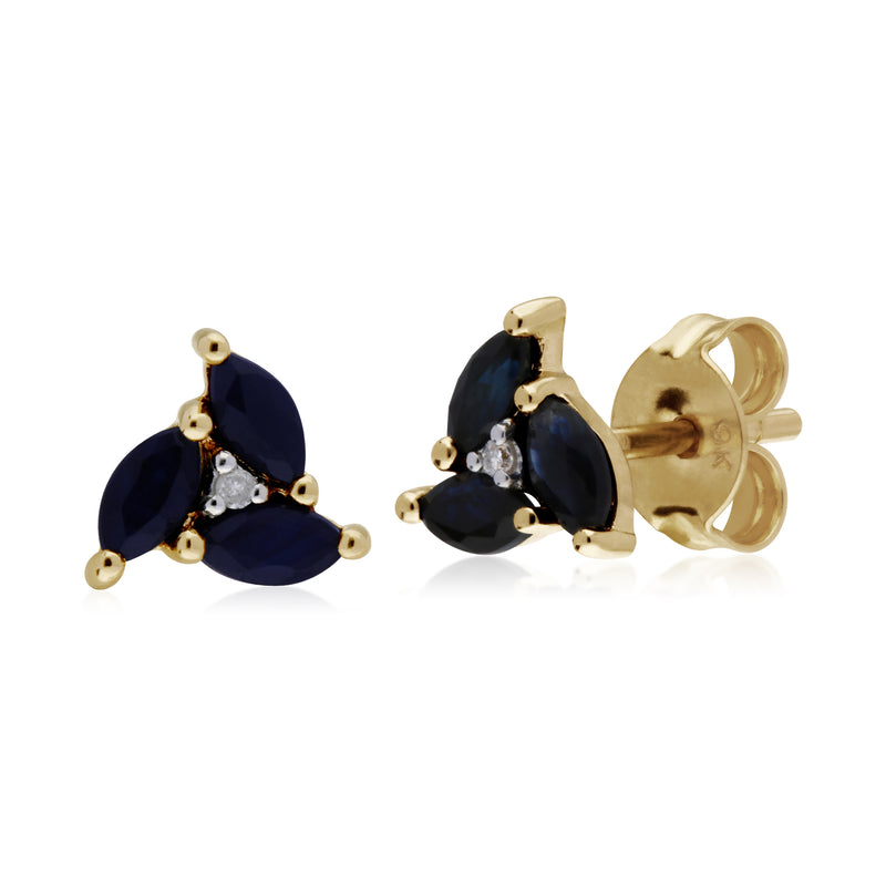 Floral Marquise Sapphire & Diamond Stud Earrings in 9ct Yellow Gold