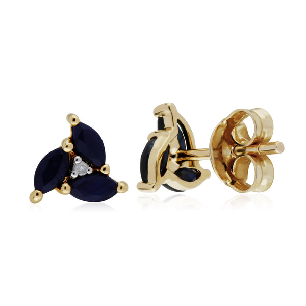 Floral Marquise Sapphire & Diamond Stud Earrings in 9ct Yellow Gold 2