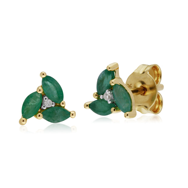 Floral Marquise Emerald & Diamond Stud Earrings in 9ct Yellow Gold