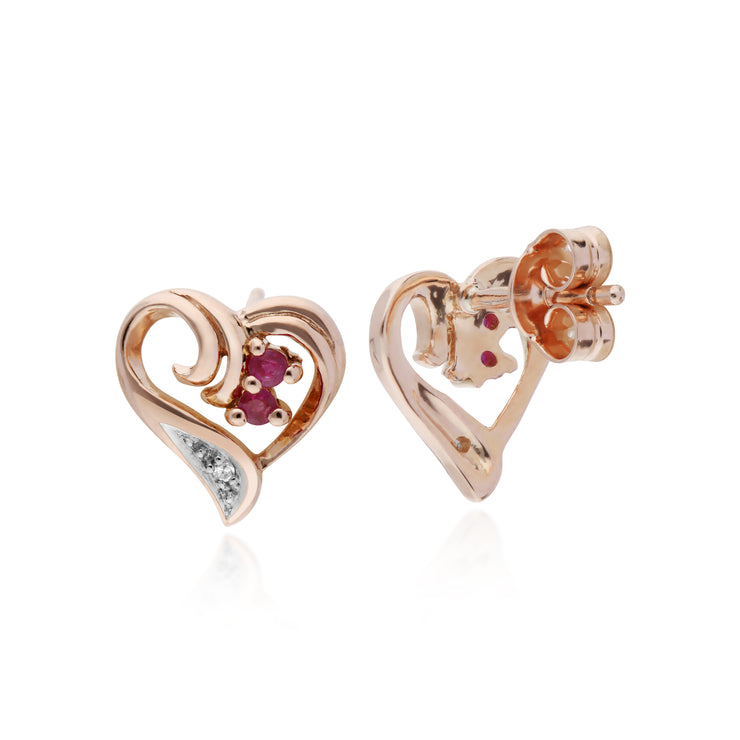 Classic Round Ruby & Diamond Fancy Swirl Heart Stud Earrings in 9ct Rose Gold