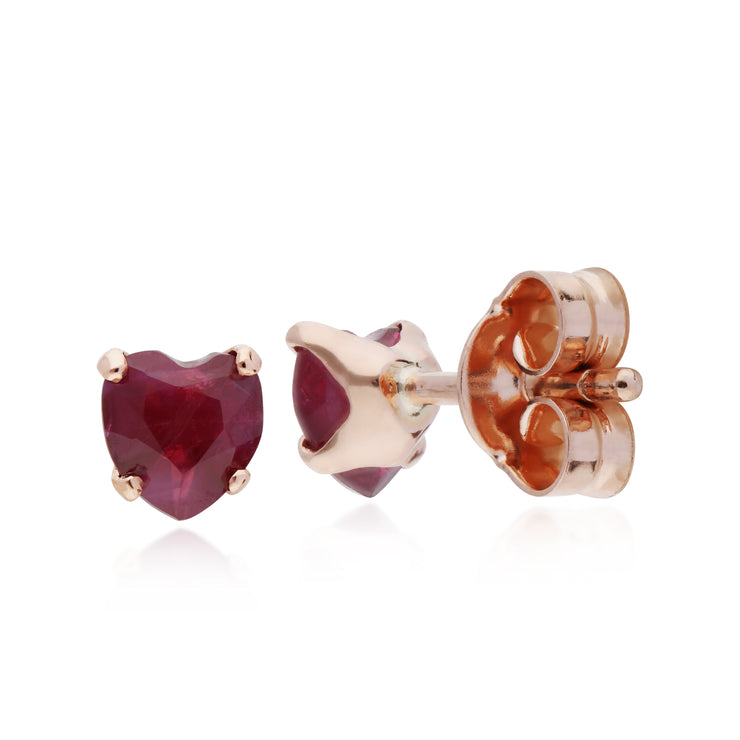 Classic Heart Ruby Single Stone Heart Stud Earrings in 9ct Rose Gold