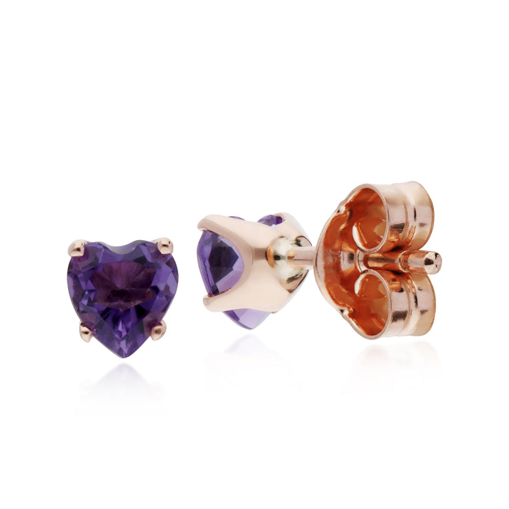 Classic Heart Amethyst Claw Set Love Heart Stud Earrings in 9ct Rose Gold