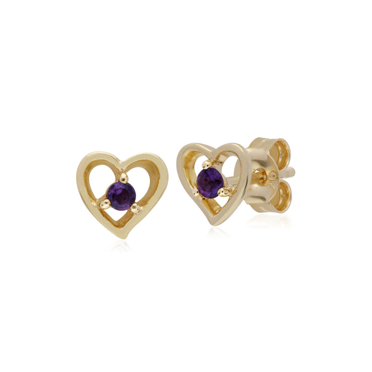Classic Single Stone Round Amethyst Open Love Heart Stud Earrings in 9ct Yellow Gold