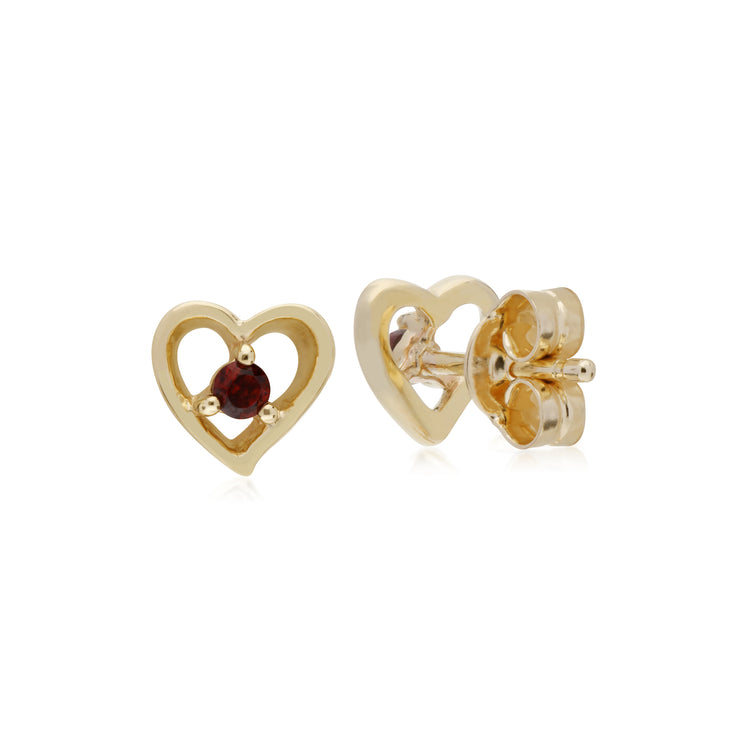 Classic Single Stone Round Garnet Open Love Heart Stud Earrings in 9ct Yellow Gold