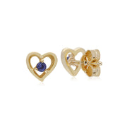 Gemondo 9ct Yellow Gold Tanzanite Single Stone Heart Stud Earrings