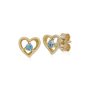 Classic Single Stone Round Aquamarine Open Love Heart Stud Earrings in 9ct Yellow Gold