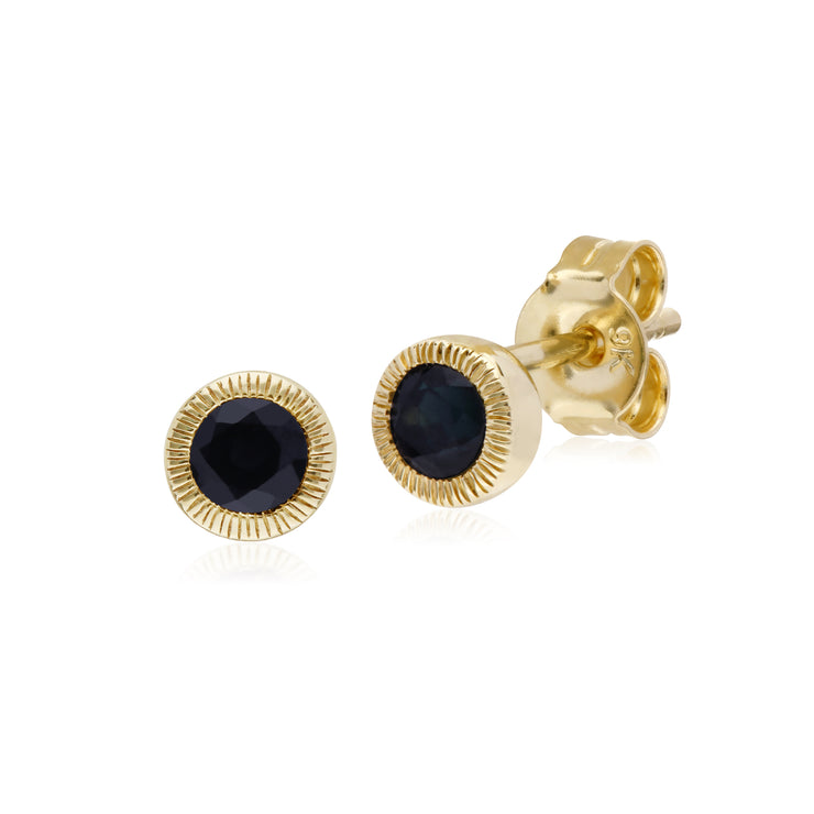 Gemondo 9ct Yellow Gold Sapphire Round Milgrain Stud Earrings