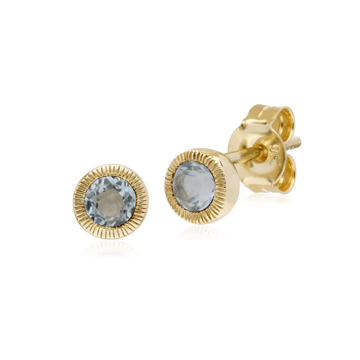 Classic Single Stone Round Blue Topaz Milgrain Stud Earrings in 9ct Yellow Gold