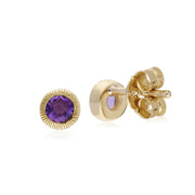 Classic Single Stone Round Amethyst Milgrain Stud Earrings in 9ct Yellow Gold