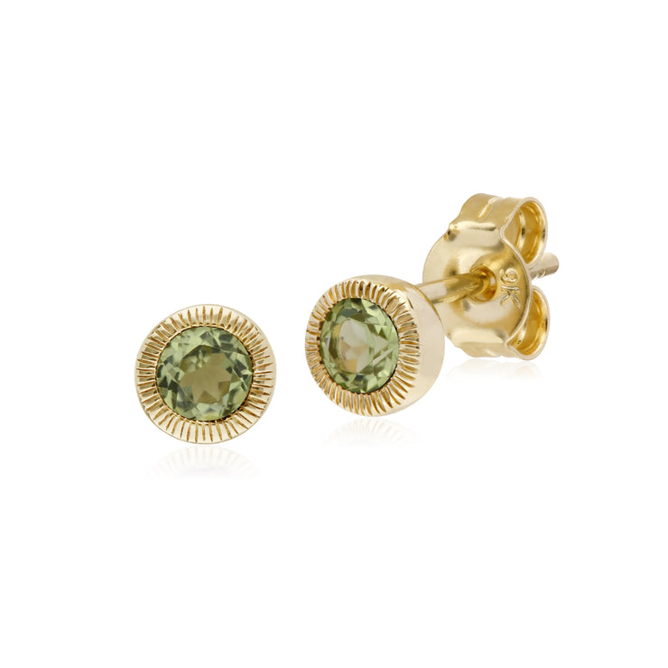 Classic Single Stone Round Peridot Milgrain Stud Earrings in 9ct Yellow Gold