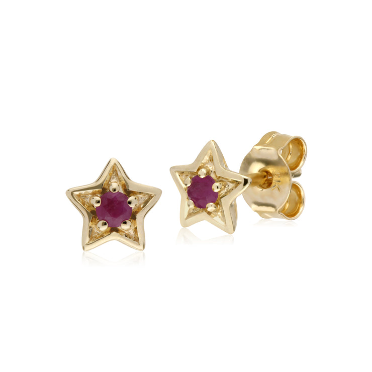 Classic Single Stone Round Ruby Star Stud Earrings in 9ct Yellow Gold
