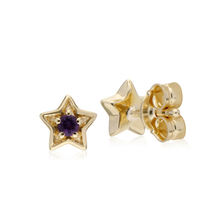 Classic Single Stone Round Amethyst Star Stud Earrings in 9ct Yellow Gold
