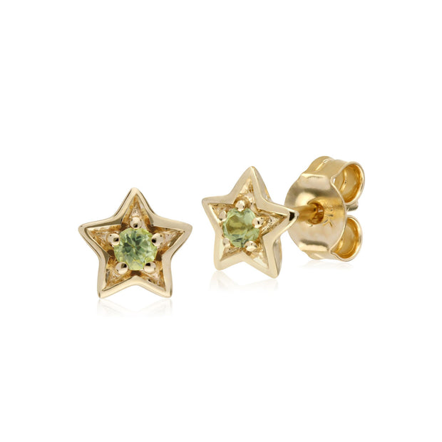 Classic Single Stone Round Peridot Star Stud Earrings in 9ct Yellow Gold