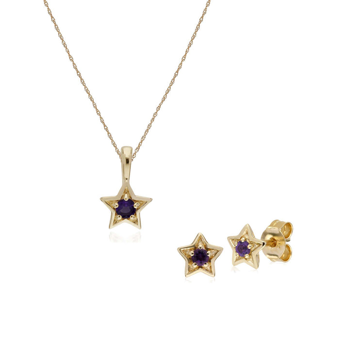 Contemporary Amethyst Star Earrings & Necklace Set Image 1