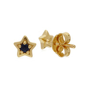 Classic Single Stone Round Sapphire Star Stud Earrings in 9ct Yellow Gold