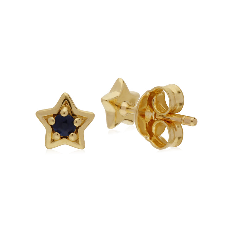 Classic Single Stone Round Sapphire Star Stud Earrings in 9ct Yellow Gold Back