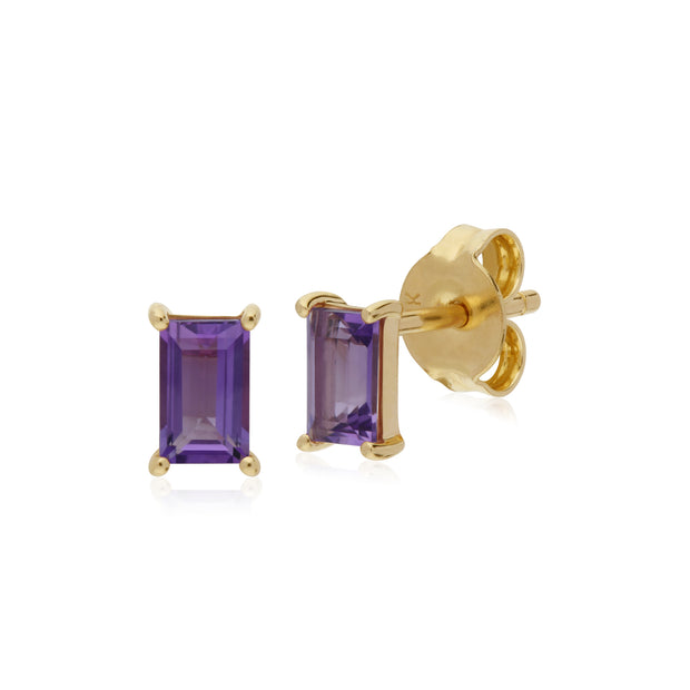 Classic Baguette Amethyst Claw Set Stud Earrings in 9ct Yellow Gold