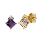 Gemondo 9ct Yellow Gold Amethyst & Diamond Square Stud Earrings