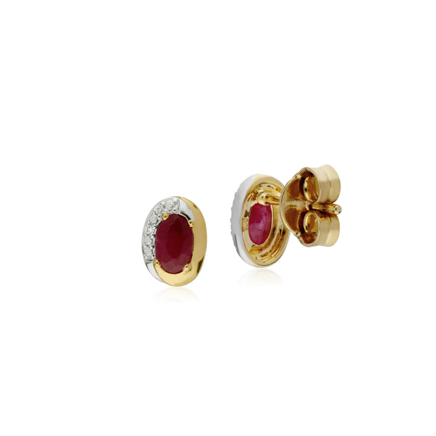 Classic Oval Ruby & Diamond Stud Earrings in Two Tone 9ct Yellow Gold