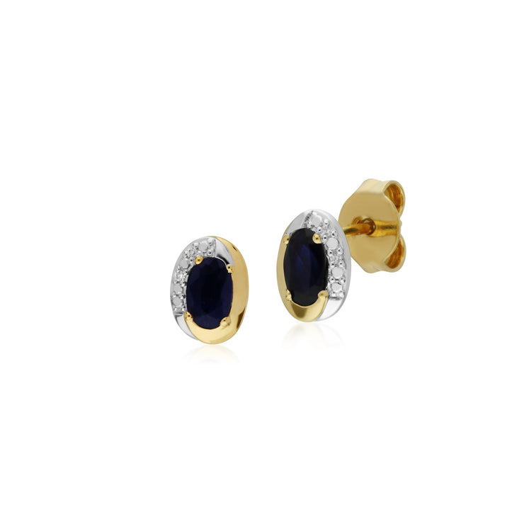 Classic Oval Sapphire & Diamond Stud Earrings in Two Tone 9ct Yellow Gold