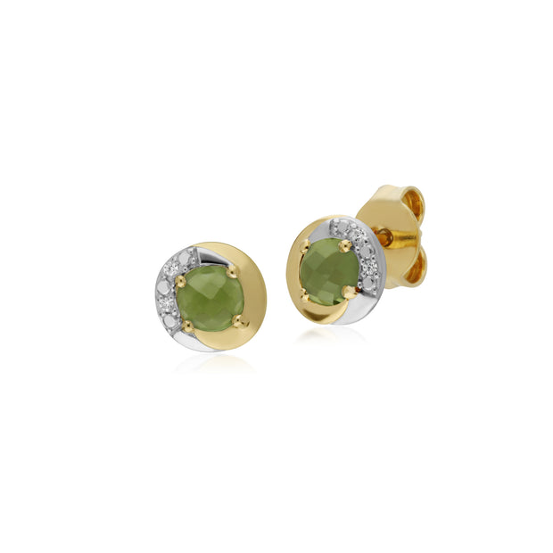Classic Style Round Peridot Stud Earrings in Two Tone 9ct Yellow Gold