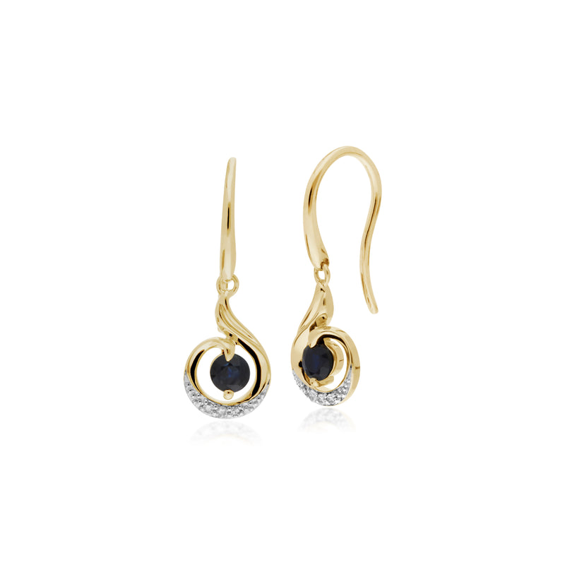 Classic Round Sapphire & Diamond Spiral Drop Earrings in 9ct Yellow Gold