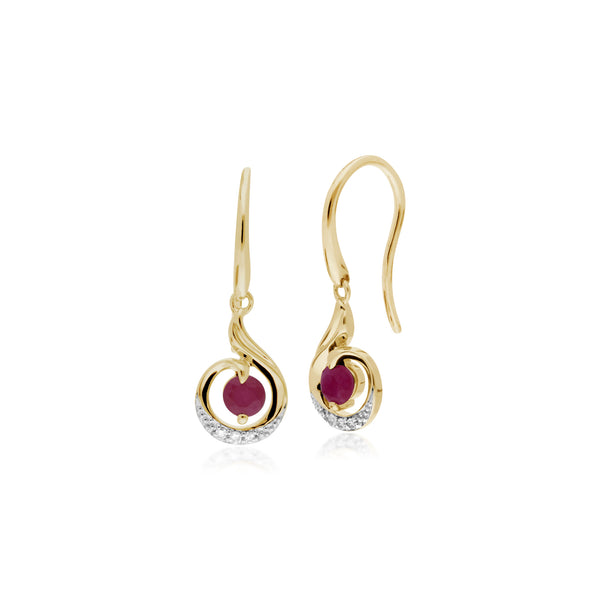 Classic  Round Ruby & Diamond Spiral Drop Earrings in 9ct Yellow Gold