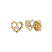 Gemondo 9ct Yellow Gold Opal Single Stone Heart Stud Earrings