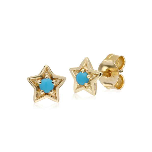 Gemondo 9ct Yellow Gold Turquoise Single Stone Star Stud Earrings