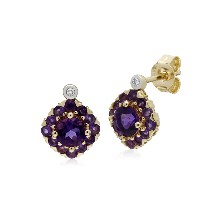 Gemondo 9ct Yellow Gold Amethyst & Diamond Square Cluster Stud Earrings