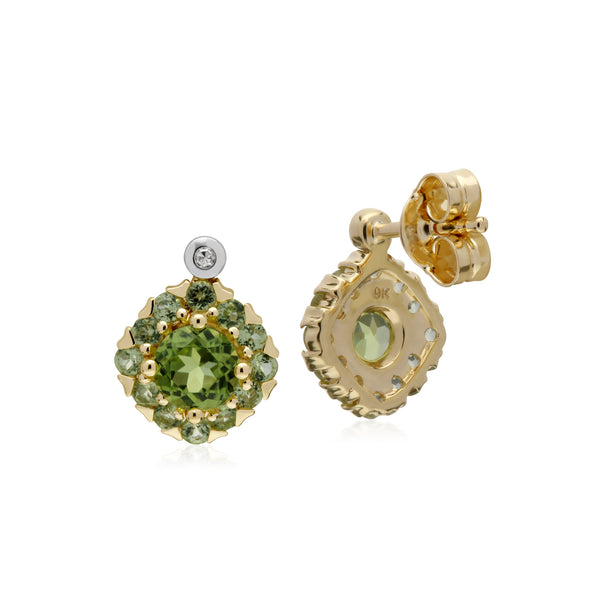Cluster Round Peridot & Diamond Stud Earrings in 9ct Yellow Gold