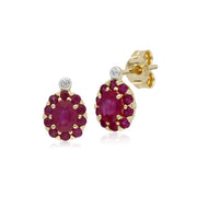 Gemondo 9ct Yellow Gold Ruby & Diamond Oval Cluster Stud Earrings