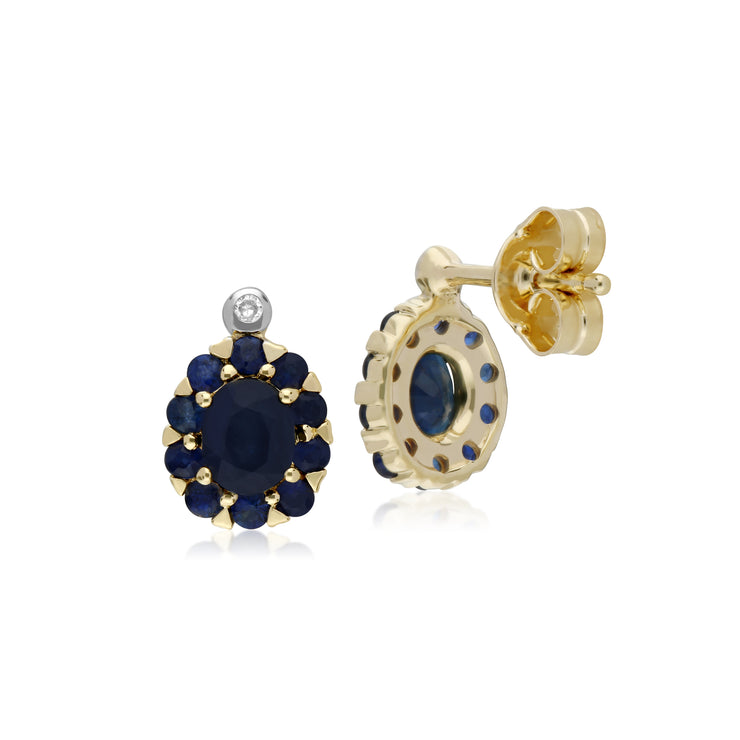 Cluster Round Sapphire & Diamond Oval Stud Earrings in 9ct Yellow Gold