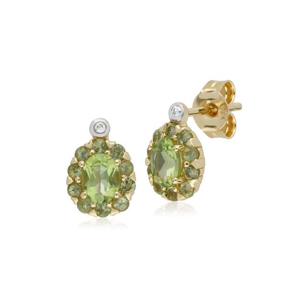 Cluster Round Peridot & Diamond Oval Stud Earrings in 9ct Yellow Gold