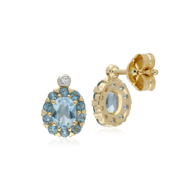 Cluster Round Blue Topaz & Diamond Oval Stud Earrings in 9ct Yellow Gold