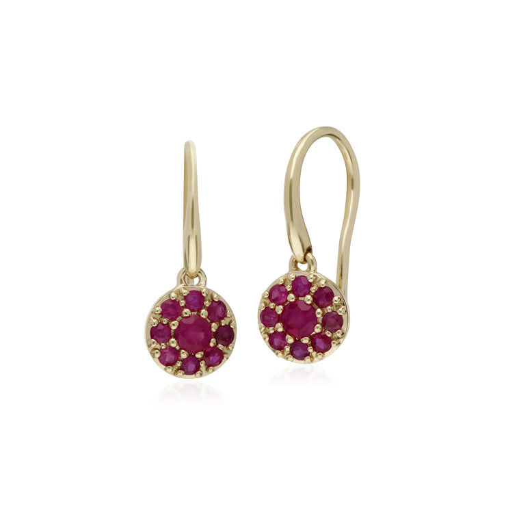 Cluster Round Ruby Circle Fish Hook Drop Earrings in 9ct Yellow Gold